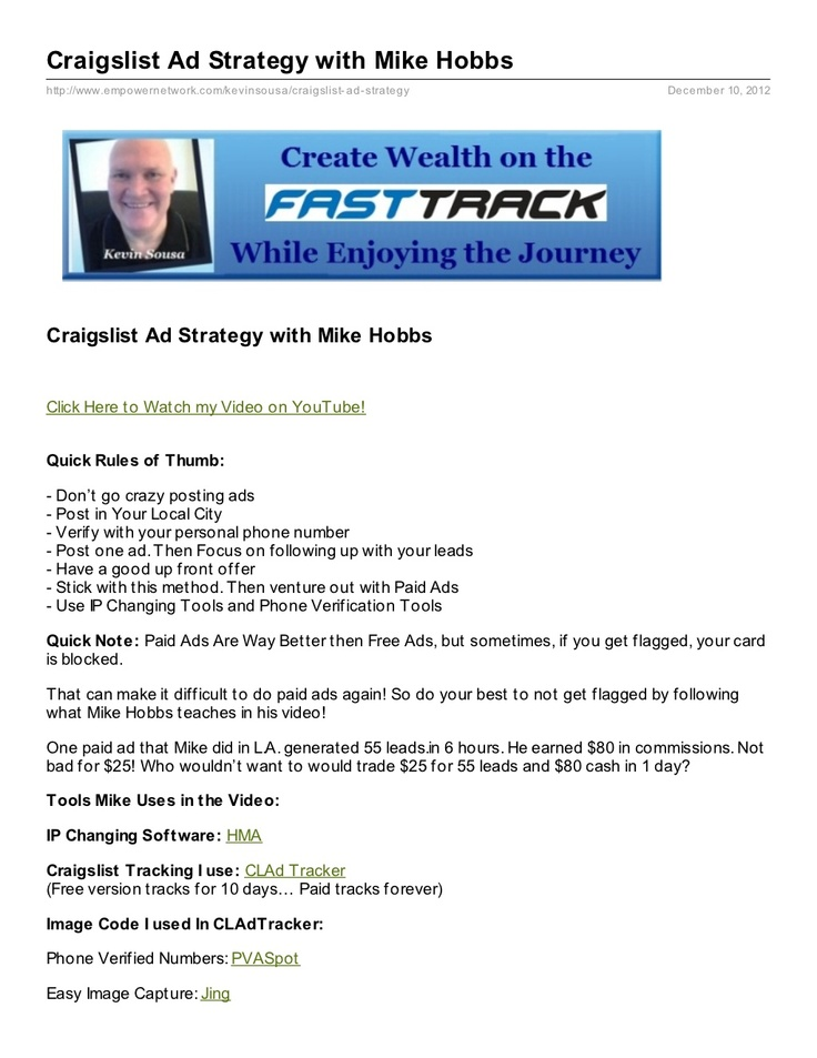 Craigslist ad strategy document sharing local personals