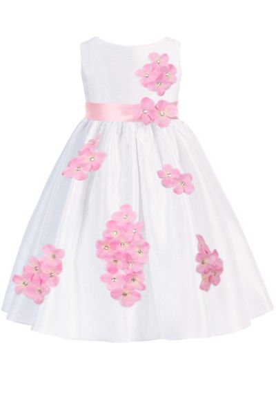 1327e7592650 Pink Dimensional Gem Beaded Flowers on White Shantung Occasion Dress (Baby  Girls Sizes 3 to 24 Months) | Baby girl stuff | Baby girl dresses, Girls  occasion ...
