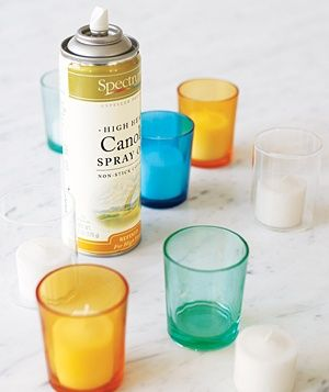 Spray the inside of a votive holder with a thin coating before dropping in a tea light. After the candle has burned down, the remaining wax will slip out.