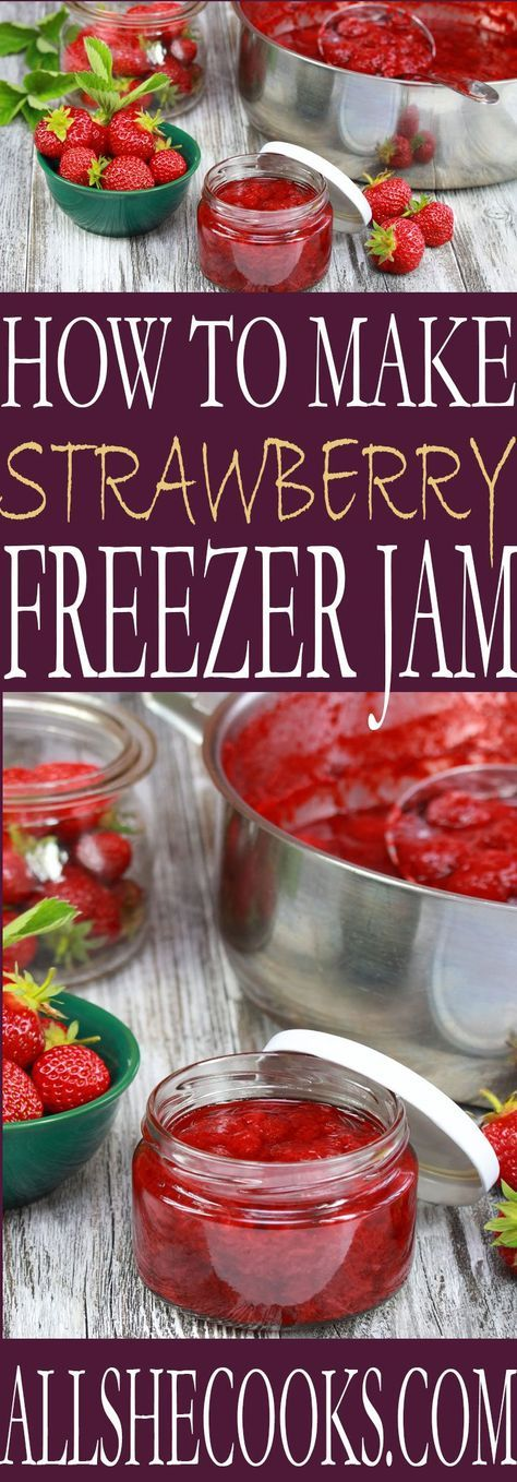 ***Strawberry Freezer Jam ~ learn how to make freezer strawberry jam at home. Th…