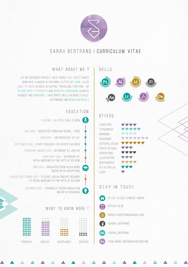 53 best CV images on Pinterest Cv ideas, Creative curriculum and - resume for internship