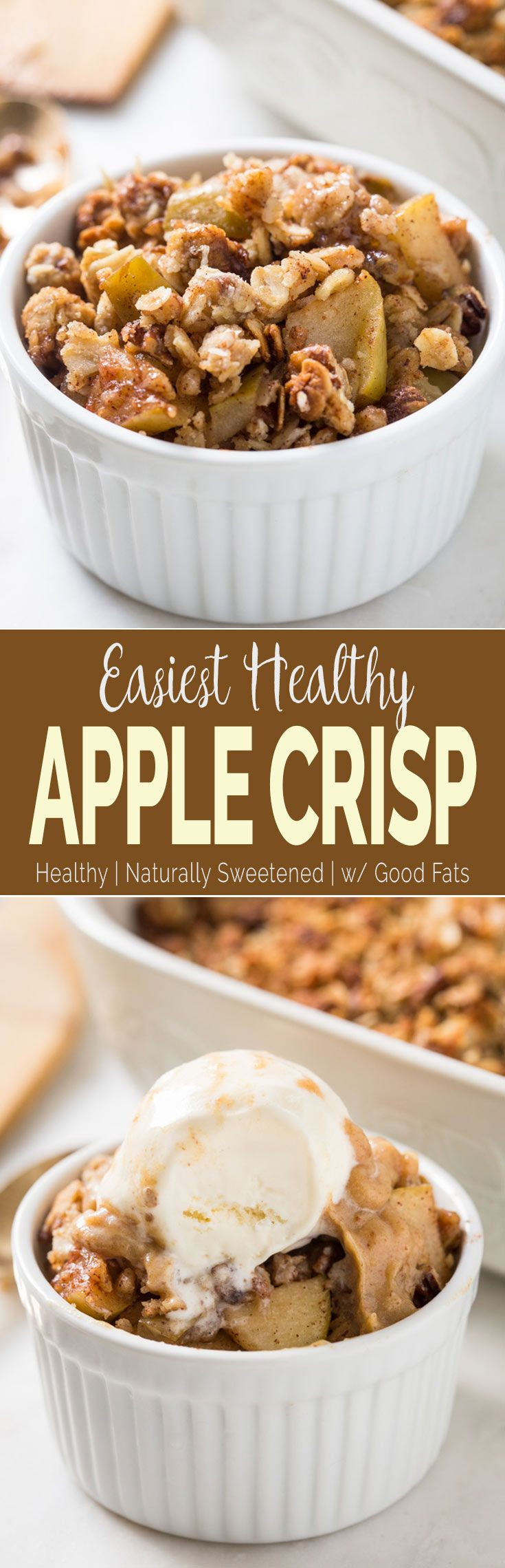 This easy and healthy apple crisp recipe is perfect for enjoying dessert guilt-free. No one will notice that it is skinny with no butter and white sugar. #healthyrecipes, #apple via @watchwhatueat