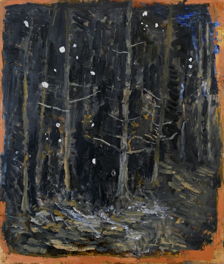Bogdan Vladuta, Forest (blue), 2013 oil on canvas mounted on board 23.6 x 19.7 (60 x 50 cm)
