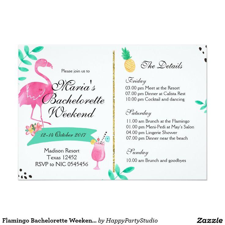 Flamingo Bachelorette Weekend Itinerary Invitation