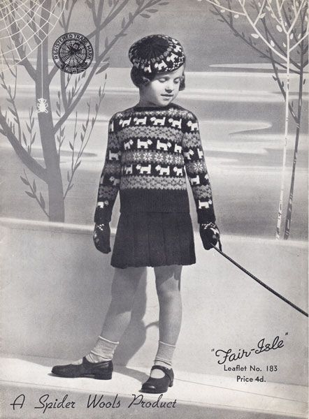 vintage fair islescottie jumper beret set 1930s