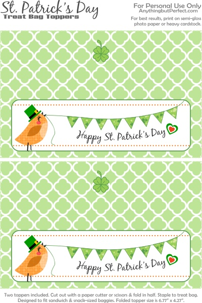 Happy St. Patrick's Day Treat Bag Topper | Printables ...