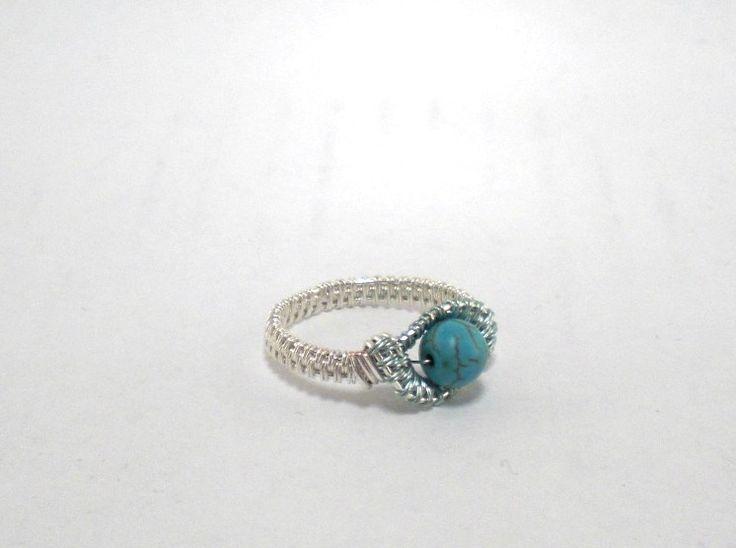 Ring ~ Silber/Hellblau mit Magnesit