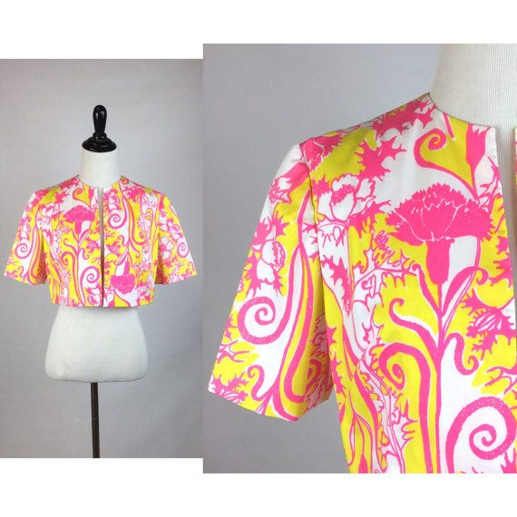 Vintage Bright Yellow and Pink Floral Bolero by imaginarygirl