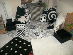 Black and White area for baby room