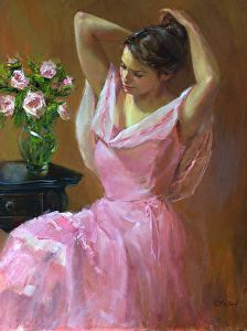 Belle en Rose (Pretty in Pink) by Catherine Marchand Oil ~ 24 x 18