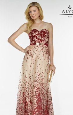 Strapless Beaded Gown by Alyce Black Label 5775