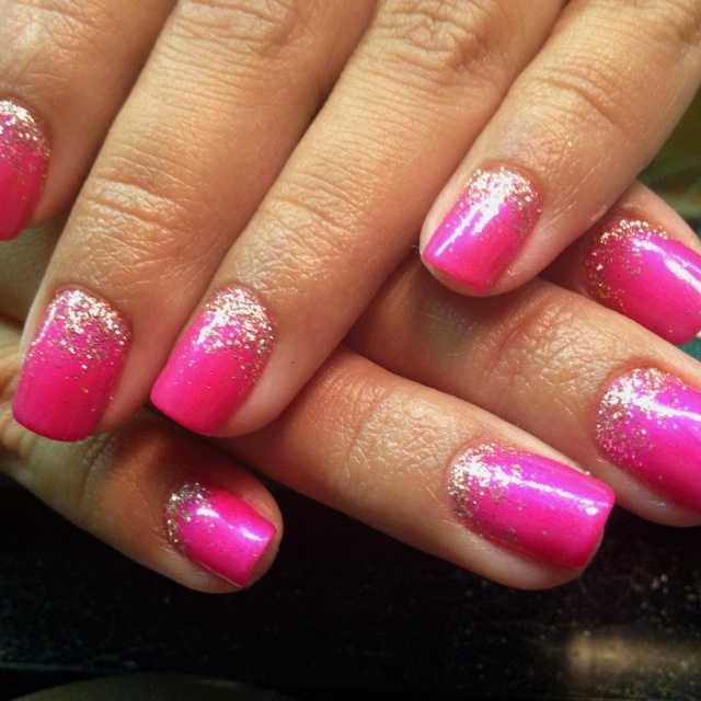 Tutti Frutti Nails: Tutti Frutti Shellac With Gold Glitter Fade Gel Polish