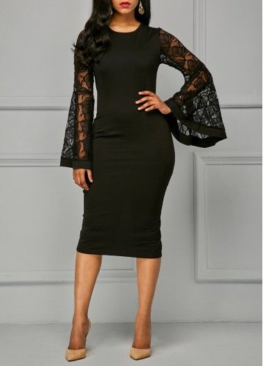 Back Slit Flare Sleeve Black Sheath Dress, free shipping worldwide at rosewe.com. check it out!