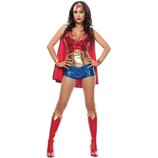 Women's Wonder Lady Costume ($69) ❤ liked on Polyvore featuring costumes, dolls, outfits, halloween costumes, womens costumes, doll halloween costume, sequin costume, star costume and blue halloween costume