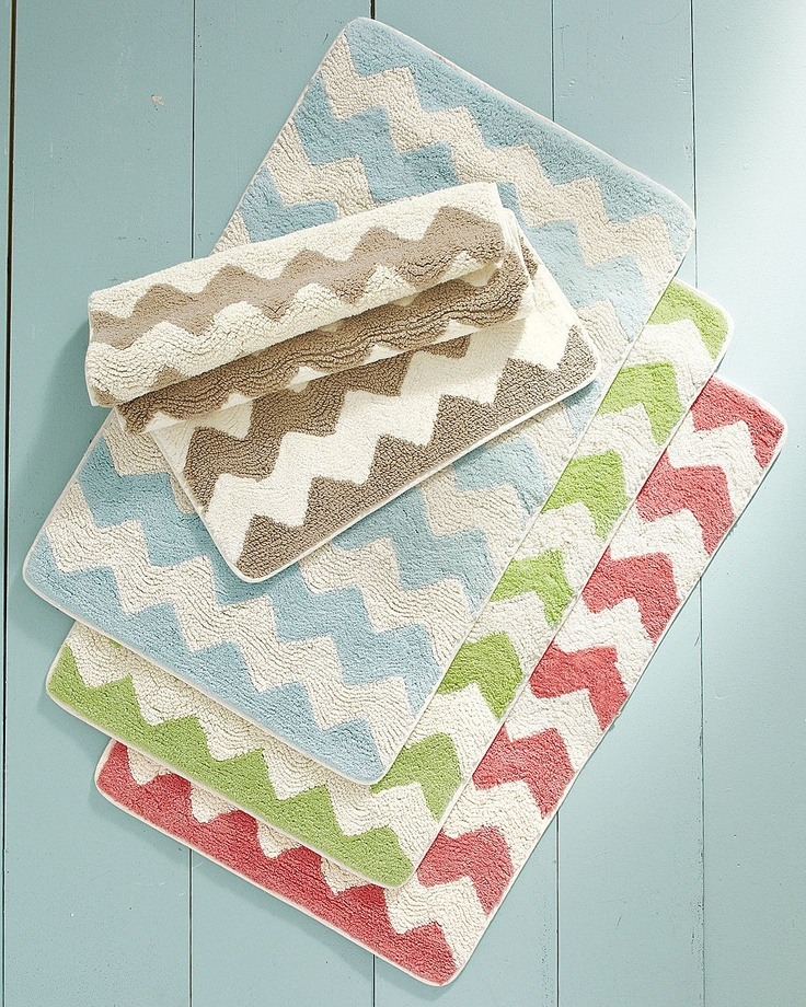 Chevron Bath Rugs [Now see, I want the green chevron curtain and rug. I am quite indecisive, no?]: Bath Rugs, Reversible Bath, Bathmat, Chevron Bath, Garnet Hill, Bath Mats