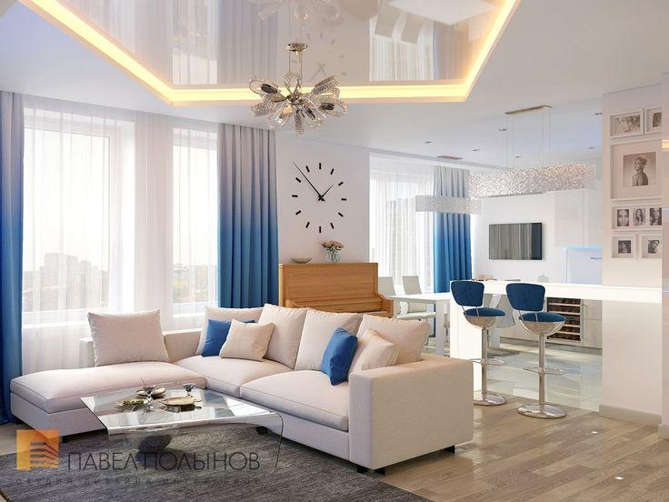 Фото: Кухня-гостиная - Интерьер трехкомнатной квартиры в современном стиле, ЖК «наб. реки Карповки,10», 110 кв.м.