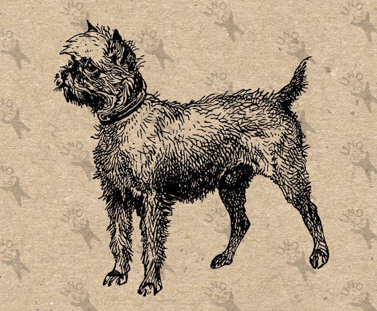 Retro image Griffon Dog Instant Download Vintage Digital printable clipart graphic Burlap Fabric Transfer Iron On Decor Scrapbooking 300dpi by UnoPrint on Etsy