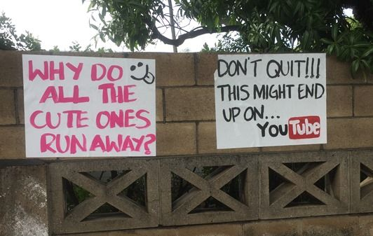 Another funny race sign - race day etiquette tips