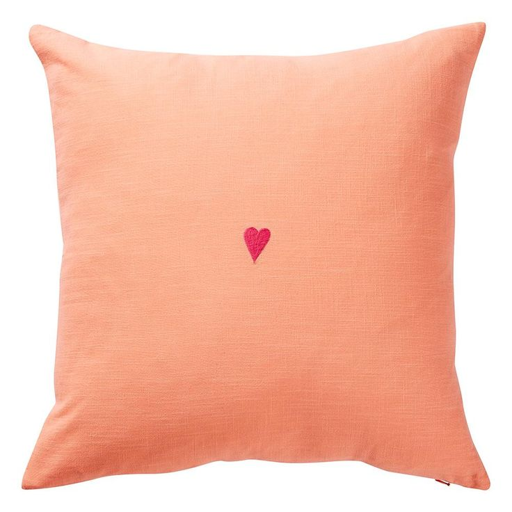 Tabitha Heart Cushion - Coral