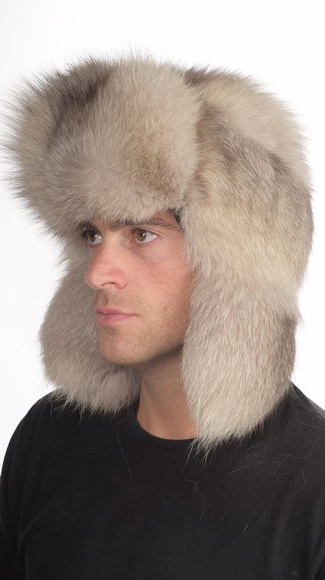 Warm grey fox fur hat for men. Russian style fur hat. Made in Italy.  www.amifur.co.uk