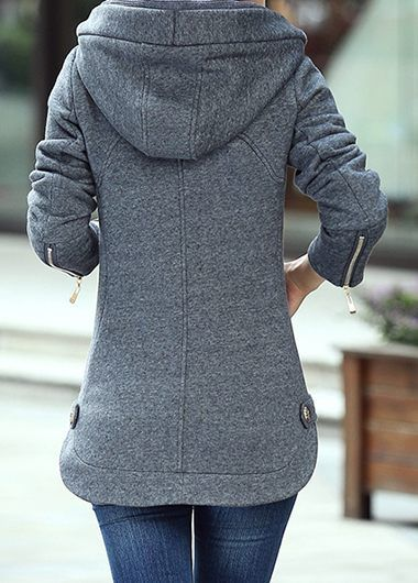 Grey Zipper Up Hooded Collar Long Sleeve Coat on sale only US$46.98 now, buy cheap Grey Zipper Up Hooded Collar Long Sleeve Coat at liligal.com