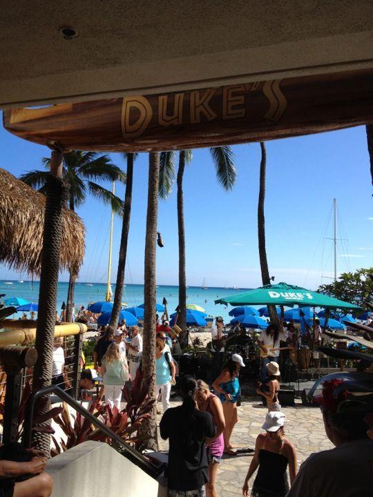 Best #Sunday Nightlife on #Oahu: #Dukes #Waikiki in #Honolulu, HI...#LiveMusic 4 - 6 pm, great #Cocktails and #MaiTais, #Beachside dining