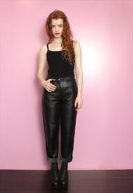 Vintage 1980's Black Leather High Waisted Trousers