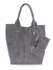 Kožené kabelky Shopperbag přírodní semiš šedá
