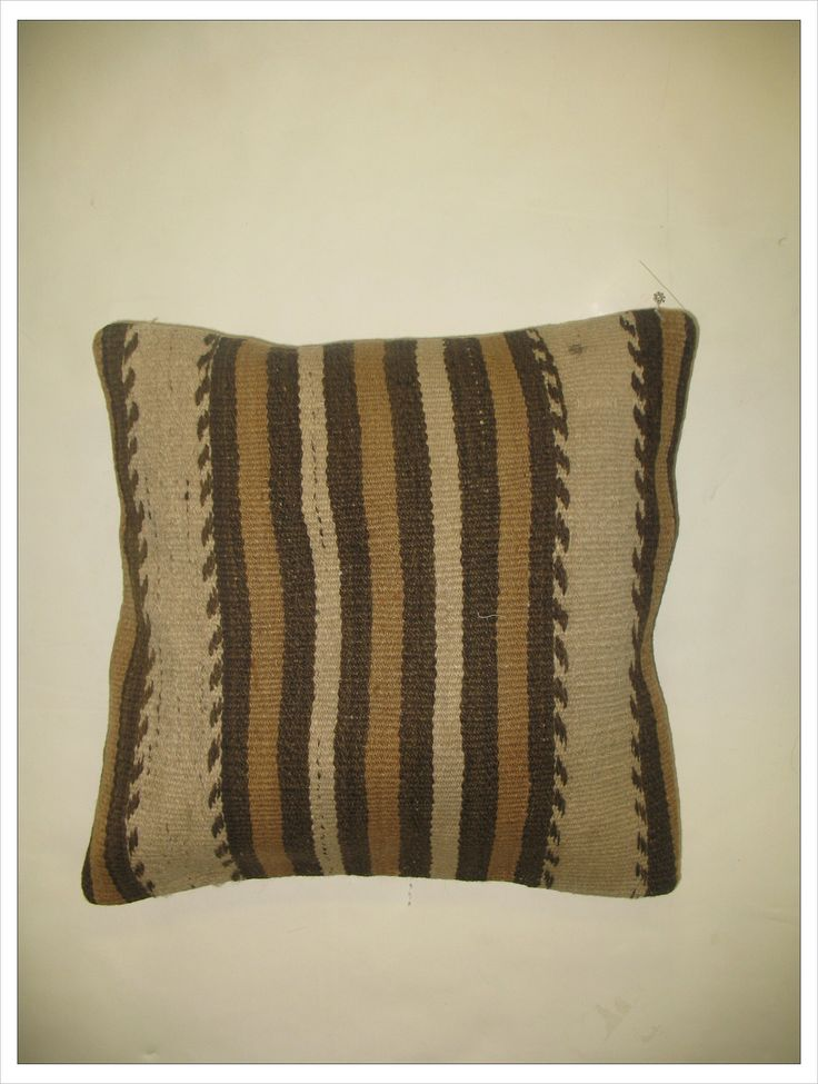 Pillow Made With A Vintage Kilim Khaki Cotton Back And Zipper Closure