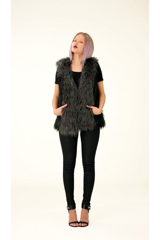 Two-Colored Fake Fur Vest, S / Annaliina