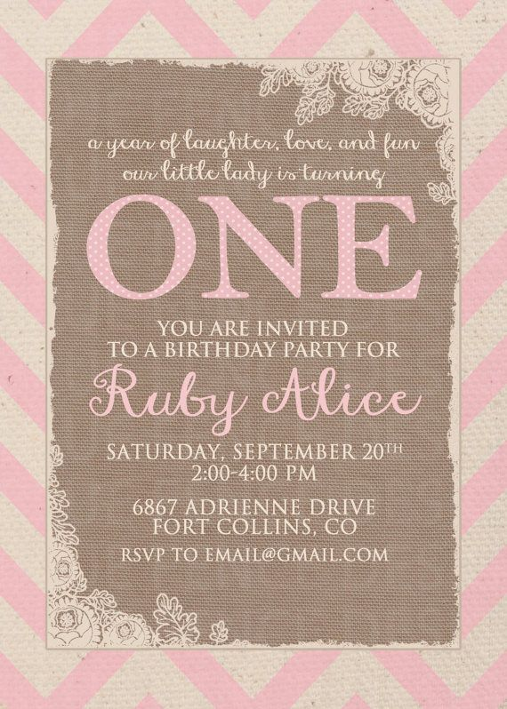 burlap and chevron girl birthday party by BlueFenceDesigns on Etsy