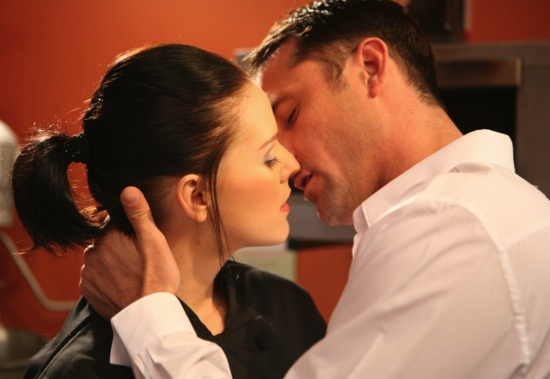 UK soap EastEnders' Tony (Nick Pickard) and Cindy (Stephanie Waring) get steamy in the kitchen..
