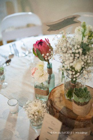Loving this Rustic Table Centrepiece ♥ Protea and Rustic Fynbos Inspired Wedding at Langverwagt | Confetti Daydreams ♥  ♥  ♥ LIKE US ON FB: www.facebook.com/confettidaydreams  ♥  ♥  ♥ #Wedding #RealBride #RusticWedding