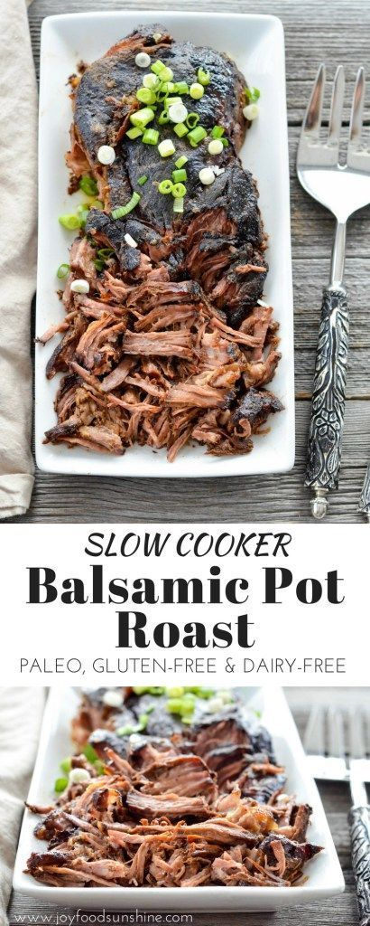 Slow Cooker Balsamic Pot Roast! Easy, healthy make-ahead main dish recipe for your holiday celebrations! Paleo, gluten-free