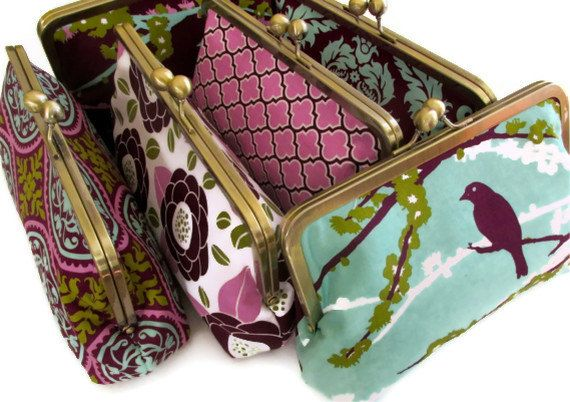 Bridal Clutch -  Bridal Party Gift Customize Your Cutie Girlie Clutches - You choose the fabrics. $36.00, via Etsy.