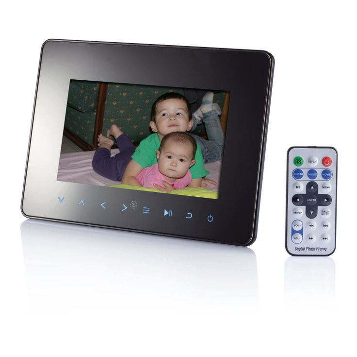 7inch digital photo frame with LED light (16: 9), resolution 480x234 pixels. Supported memory card format:  Extra functions: calendar and clock (with alarm). Build-in two stereo speakers. Pictures rotating to 90, 180 and 270 degrees and zoom in/out function. Power supplying: 110-240V 50/60Hz, 9V/1A DC adaptor. Including remote controller, DC power adaptor, AV Cable and stand. Packed in black gift box. For more great ideas contact John@fortunemarketing.ie