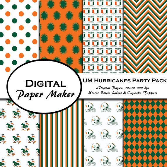 U of Miami Hurricanes Party Pack to use for by DigitalPaperMaker