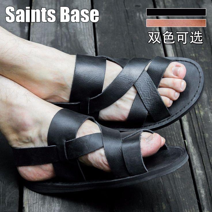 Nuova 2016 roma dell'annata del cuoio genuino sandali intrecciati sandali scarpe piane degli uomini uk spedizione gratuita(China (Mainland))
