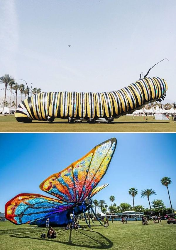 Poetic Kinetics, a large group of artists from Los Angeles focusing on large-scale sculptures, returned to Coachella in 2015 for another interactive art installation. Named 'Caterpillar's Longing' (or 'Papilio Merraculous'). the first two days of the festival saw the installation take the form of a yellow and black caterpillar and offered shade to attendees. On the last day, the caterpillar was gone and a butterfly took its place — colored blue with sequins and with rainbow wings. Crowd…