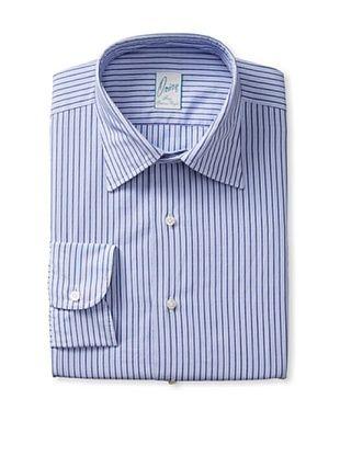 70% OFF Orian Men's Slim Fit Washed Spread Collar Poplin Striped Dress Shirt (Blue)