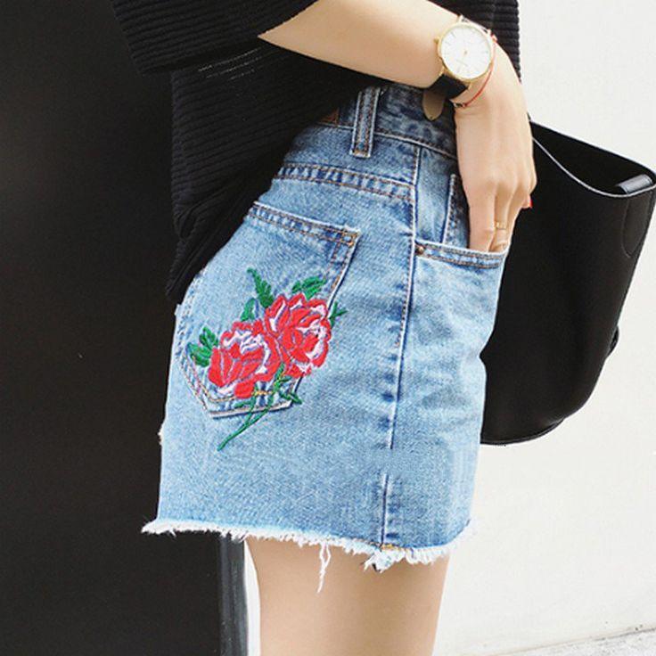 Personalizado Bordado Rose Shorts Mujeres 2017 Verano Cintura Alta Pantalones Cortos de Mezclilla Delgada Pantalones Cortos Mujer Plus Tamaño Corto Femme