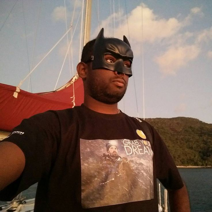 Costume party on the sail boat and He's the Dark Knight. #GrabYourDream #costumeparty #Australia #yatch #sailing