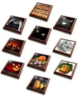 Trivets add to any party and decorations. Halloween is one of my favorite holidays. Remembering some of those fun Halloween parties where we came in costume and shared some fun with friends. Candy, punch, desserts and hot dishes were always a great treat to these parties.    Your buffet tables will look fantastic with these tile decorations. A trivet supports a dish, pan or pot above the table surface to prevent scratches and heat damage. Not only are these practical but festive for the holiday as well.: Favorite Holidays, Buffet Tables, Holidays Halloween, Halloween Trivets, Trivets Add, Halloween Articles Gifts, Costume, Fun Halloween