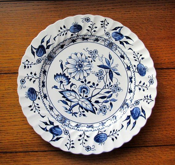 Saxony Pattern 10 Inch Dinner Plate Blue And White Ironstone Blue Plates Plates Blue And White China