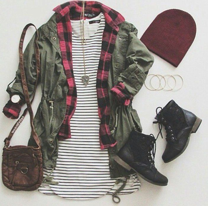 Grunge outfit idea nº16: Red plaid shirt, striped dress T, green canvass jacket, red beanie, black laced boots, brown leather bag, and matching accessories - http://ninjacosmico.com/23-awesome-grunge-outfits/