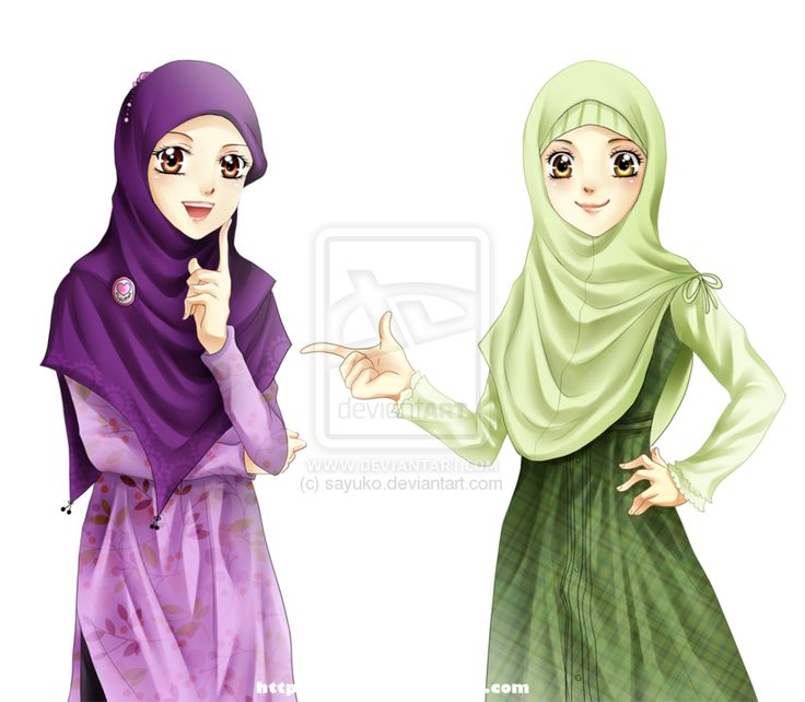 Illustration of Two Muslim Women in Hijab