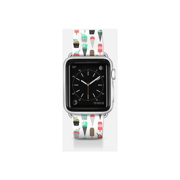 Apple watch band with ice cream cones hipster custom product accessory... ($52) ❤ liked on Polyvore featuring jewelry, watches, apple watch band, hipster jewelry and hipster watches