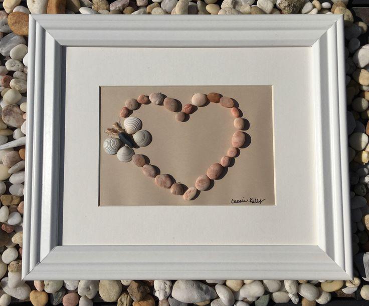 Pebble Heart with Butterfly - Pebble Art by SeasTheDaySeaGlassCo on Etsy https://www.etsy.com/listing/472282825/pebble-heart-with-butterfly-pebble-art
