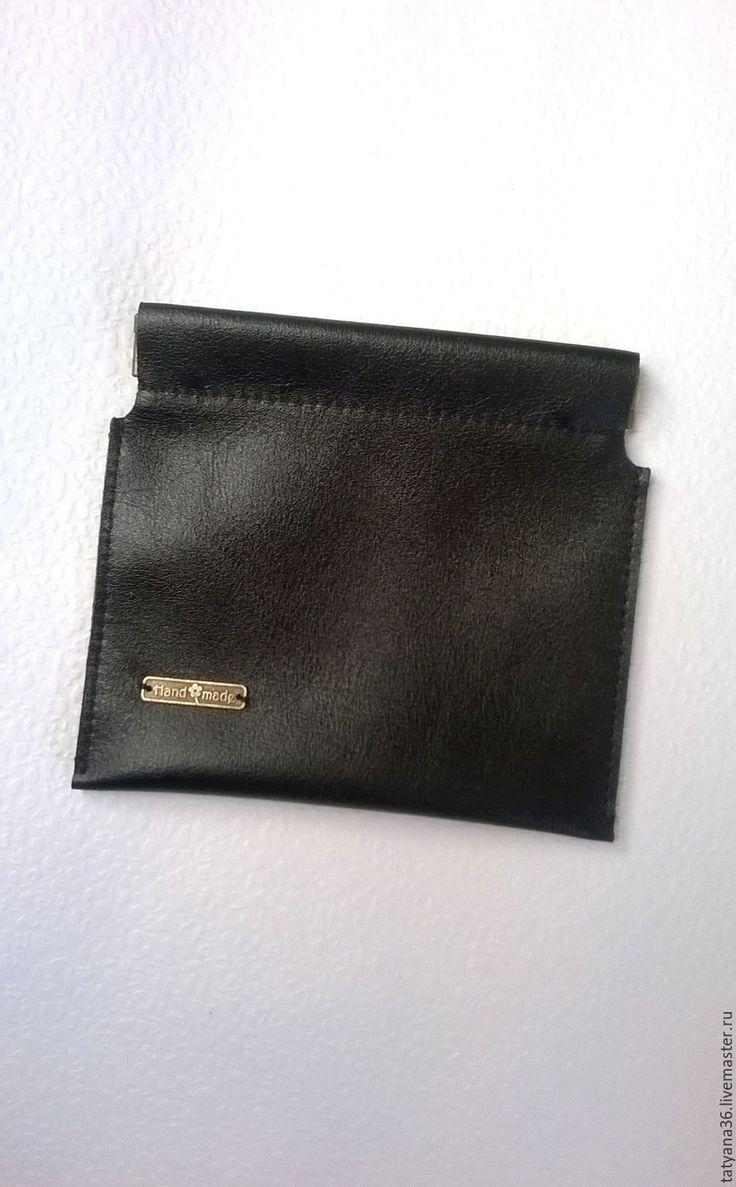 Купить Кошелек для мелочи - черный, кошелек из кожи, кошелек для мелочи, монетница из кожи