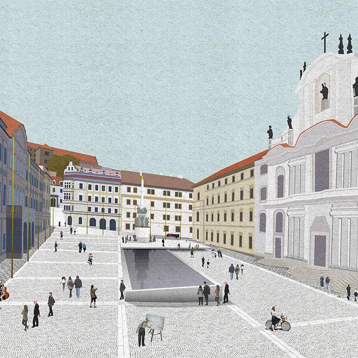 Roz Barr (n.y.): Lesser Town Square, Praha (CS), via rozbarr.com
